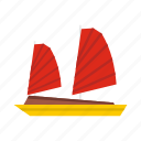 asia, boat, chinese, junk, sea, ship, vietnamese icon