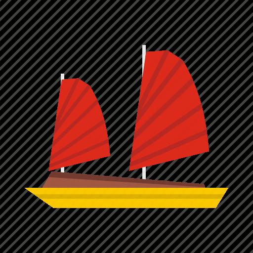 asia, boat, chinese, junk, sea, ship, vietnamese icon
