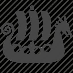 boat, knarr, longship, sailboat, seafaring, ship, viking icon