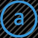 a, keyboard, letter, lowcase, select, virtual icon