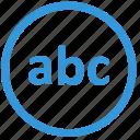 abc, enter, keyboard, lowcase, select, text, virtual icon