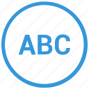 abc, format, mobile, mode, select, text, uppercase icon
