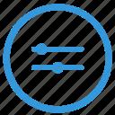 configurate, double, horizontal, options, select icon
