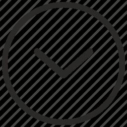 arrow, bottom, go, navigation icon