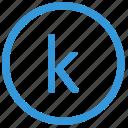 k, keyboard, letter, lowcase, select, virtual icon