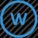 keyboard, letter, lowcase, select, virtual, w icon