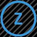 keyboard, letter, lowcase, select, virtual, z icon