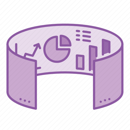 business, graph, reality, screen, simulation, technology, virtual icon