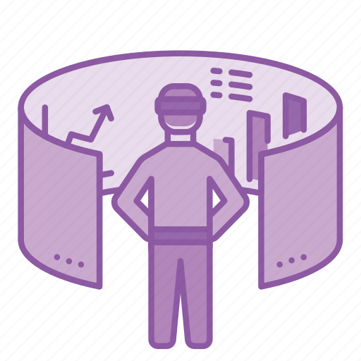 business, graph, interaction, screen, simulation, technology, virtual reality icon