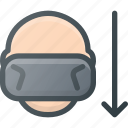 down, glasses, motion, reality, technology, virtual, vr icon