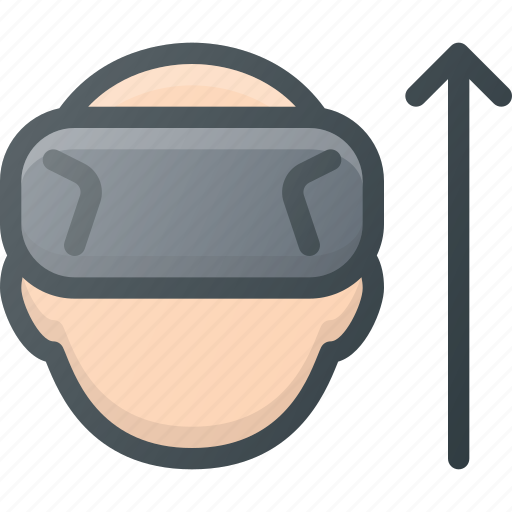 glasses, motion, reality, technology, up, virtual, vr icon