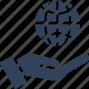 control, globe, hand, world icon