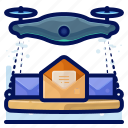 delivery, device, drone, drones, electronic, email, mail icon