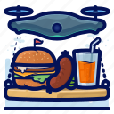 burger, delivery, device, drone, drones, electronic, food