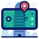 building, location, navigation, pointer, reality, virtual, vr icon