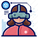 device, electronic, goggles, reality, virtual, vr, woman icon