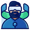 device, electronic, goggles, man, reality, virtual, vr icon
