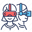 female, glasses, people, vr helmets icon