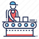 assembly line, factory, hard work, worker icon