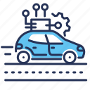artificial intelligence, driverless car, gear, road icon