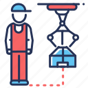 factory, industrial robot, loader robot, production icon