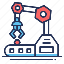 industry, production, robot, robotic arm icon