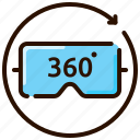 360 degrees, 3d glass, eye, game, spectacles, virtual reality icon
