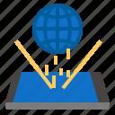 globe, hologram, smartphone icon