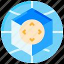 360, controls, cube, globe, mobile, virtual reality icon