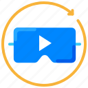 video player, video streaming, virtual reality, vr glass icon