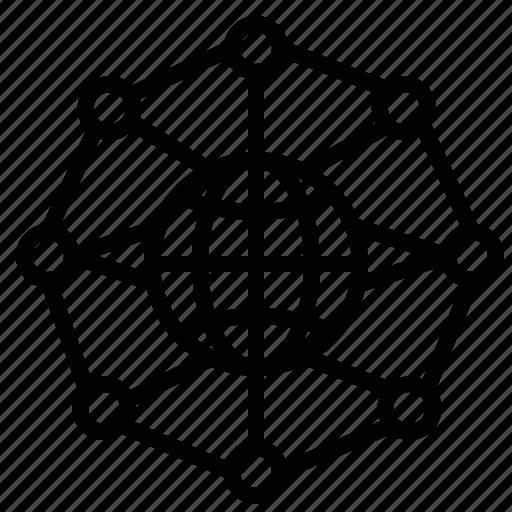 circular, globe, grid icon