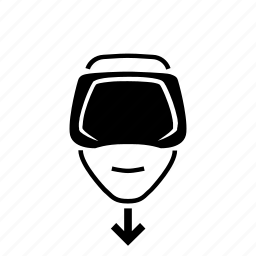 down, face, head, oculus rift, point, virtual reality, vr icon
