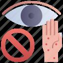avoid, eye, hand, touch