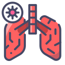 human anatomy, infected, lungs, organ, virus icon