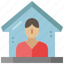 stay, quarantine, house, people, lockdown, home, safety icon