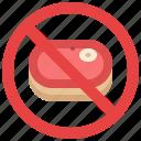 prohibition, ramadon, food, meat, vegan, warning, raw icon