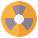 danger, nuclear, radiation, warning icon