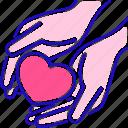 charity, donation, hands, heart, love, volunteering icon