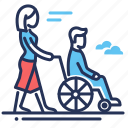 disabled person, female, help, male icon