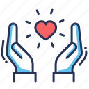 beneficence, charity, hands, heart icon
