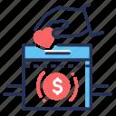 chaity, money, donation, box icon
