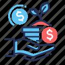 donation, giving, hand, money icon