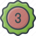 awward, badge, place, reward, sticker, third icon