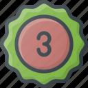 awward, badge, place, reward, sticker, third icon