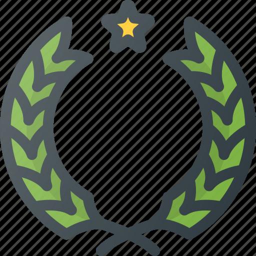 awward, laureals, laurels, leaf, reward, star icon
