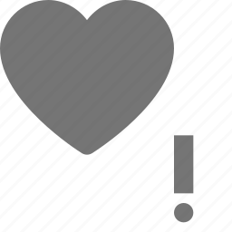 error, exclamation, heart, like icon