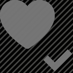 check, heart, like, select icon