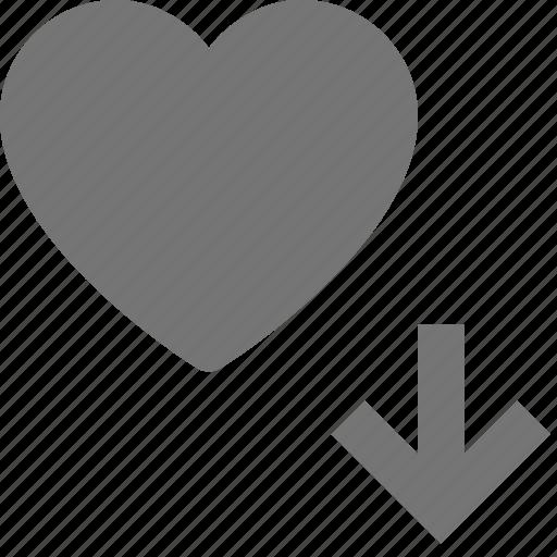 arrow, down, download, heart, like icon