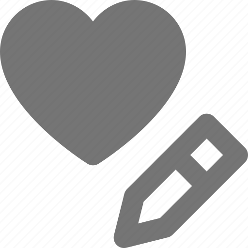 edit, heart, like, pencil icon
