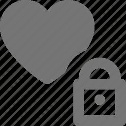 heart, like, lock, locked, security icon